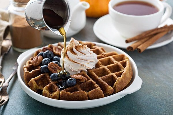 hallendale-beach-restaurants-breakfast-with-blueberry-pecan-waffles